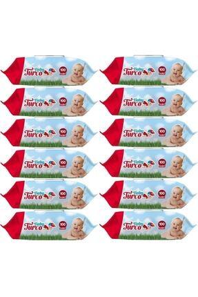 Baby Turco Islak Havlu Mendil Klasik Plastik Kapaklı 12'li Set 1200 Yaprak