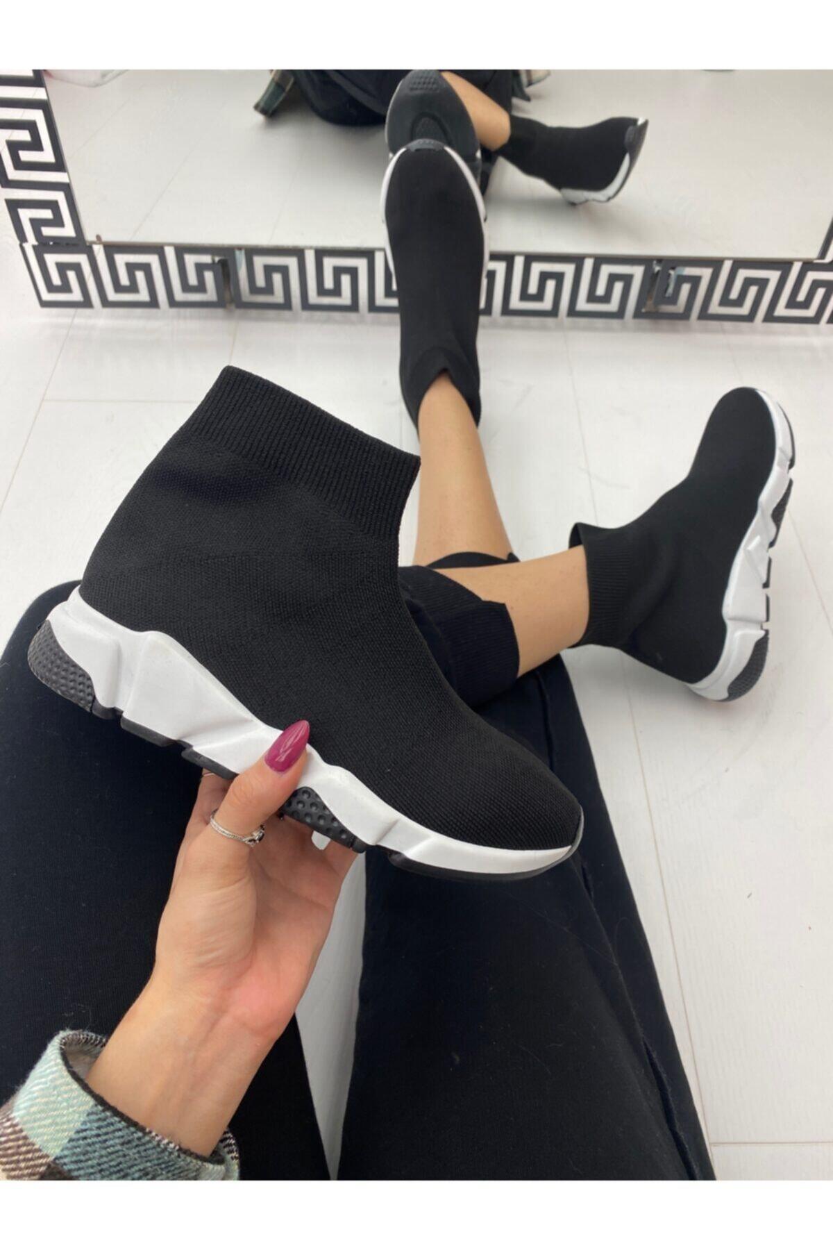 ELSESHOES Kadın Siyah Bogazlı Spor Ayakkabı 1