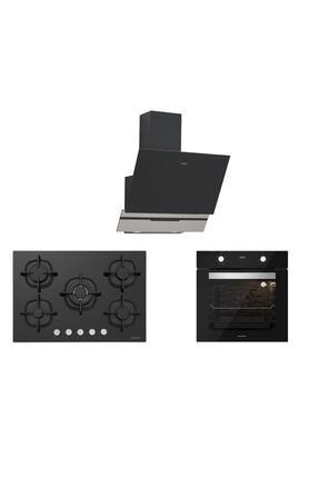 Silverline Siyah Cam Ankastre Set 5 Yıl Garanti (3450 Slımlıne 60+cs5364b01+bo6502b02)