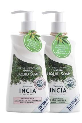 Incia Hassas Ciltler İçin  Zeytinyağlı Doğal Sıvı Sabun Seti 2 X 250 ml