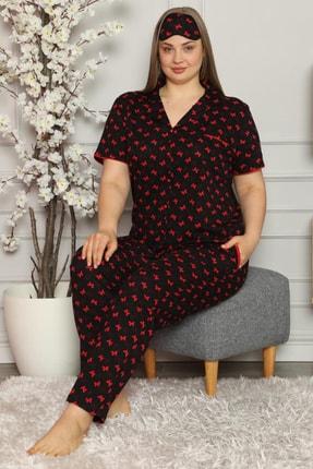 PİJAMAWOME Kadın Büyük Beden Pamuklu Önden Düğmeli Siyah Desenli Battal Yazlık Pijama Takımı