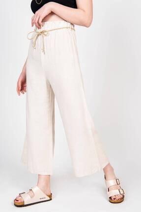 Addax Kadın Bej Bağcık Detaylı Bol Pantolon PN70540 - B6 ADX-0000018125