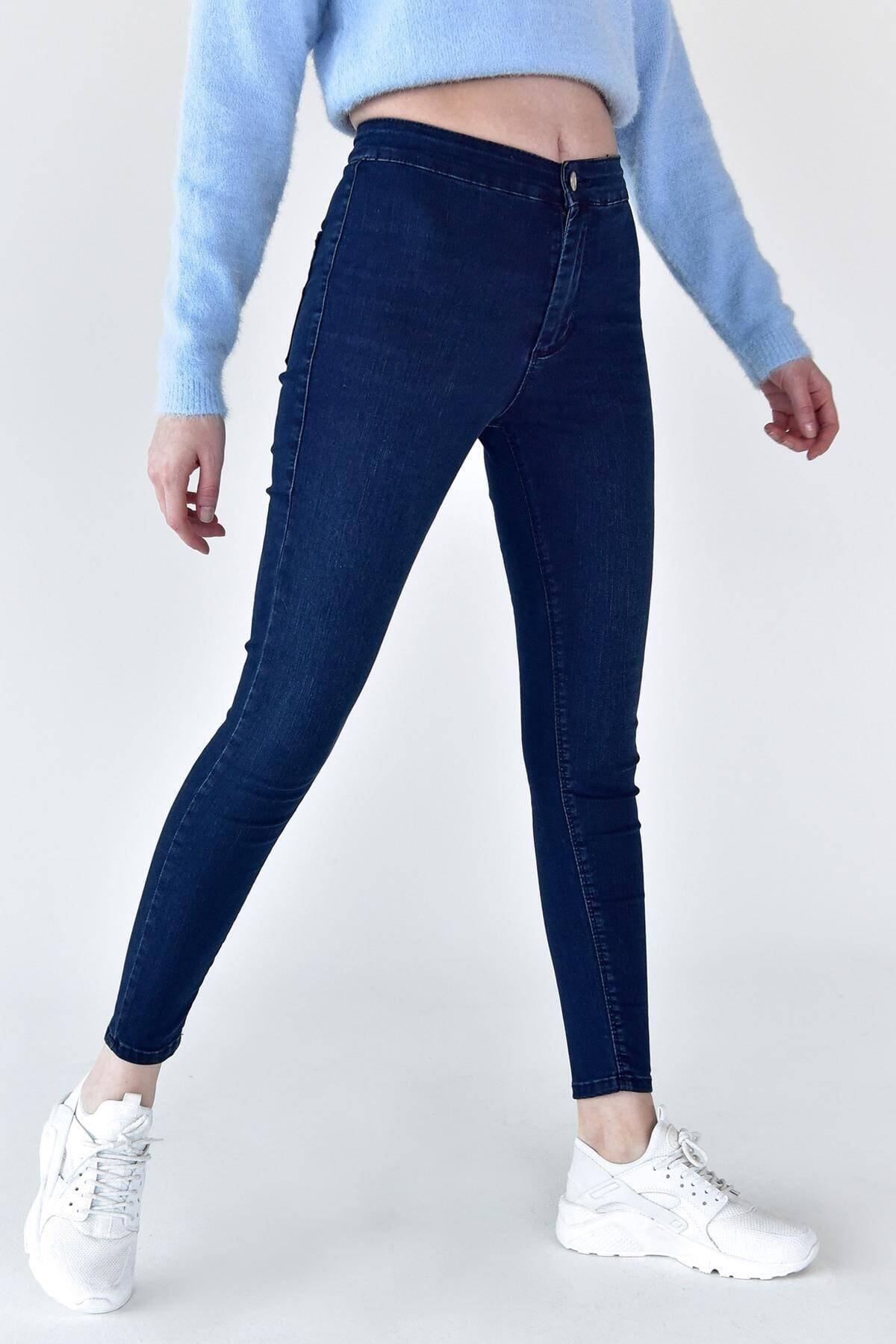 Addax Kadın Koyu Kot Rengi Yüksek Bel Pantolon Pn6525 - Pnj Adx-0000021236 1