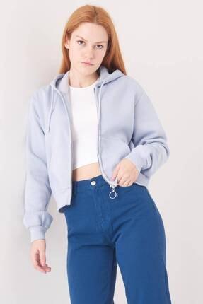 Addax Kadın Buz Mavi Kapüşonlu Hırka H0768 - J9J10 Adx-0000020944