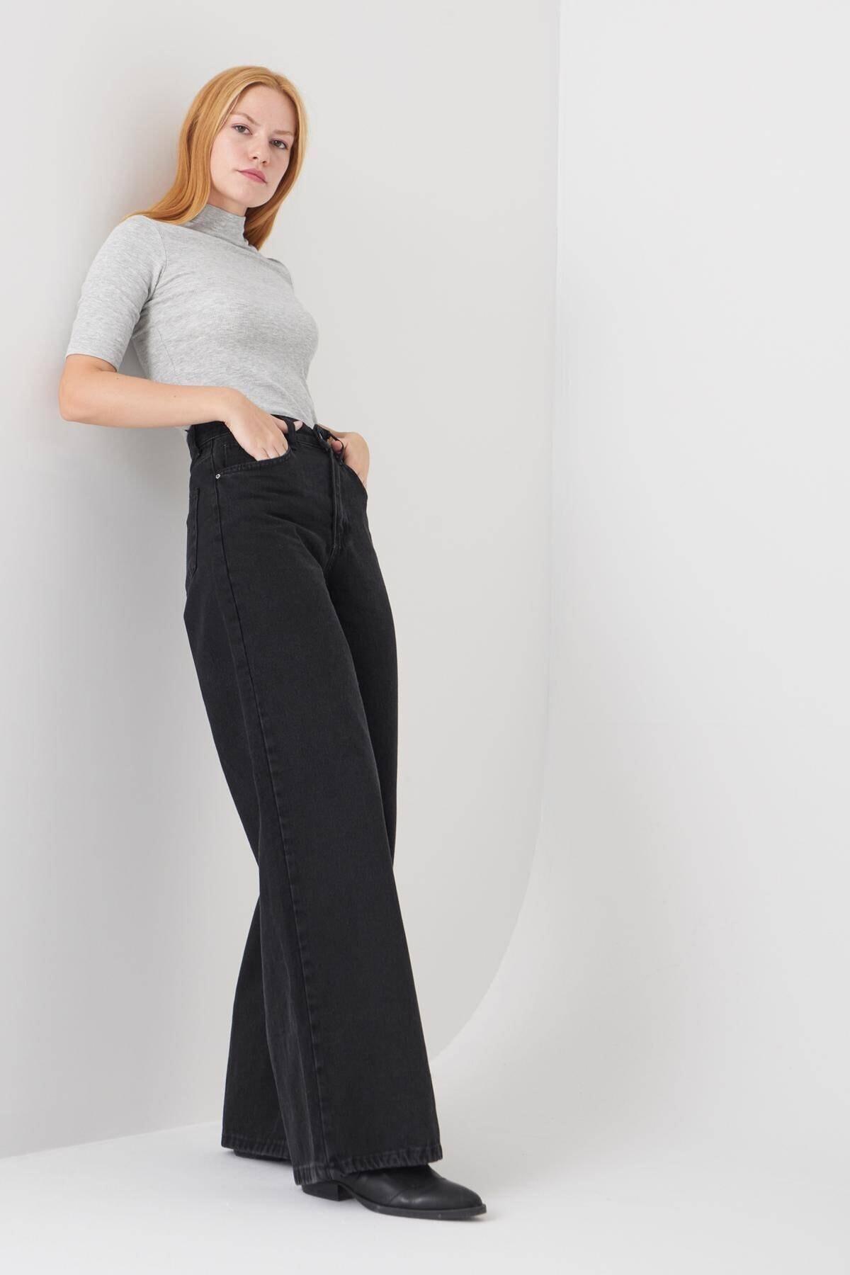 Addax Kadın Füme Cep Detaylı Bol Paça Pantolon Pn1072 - Pni ADX-0000023093 1