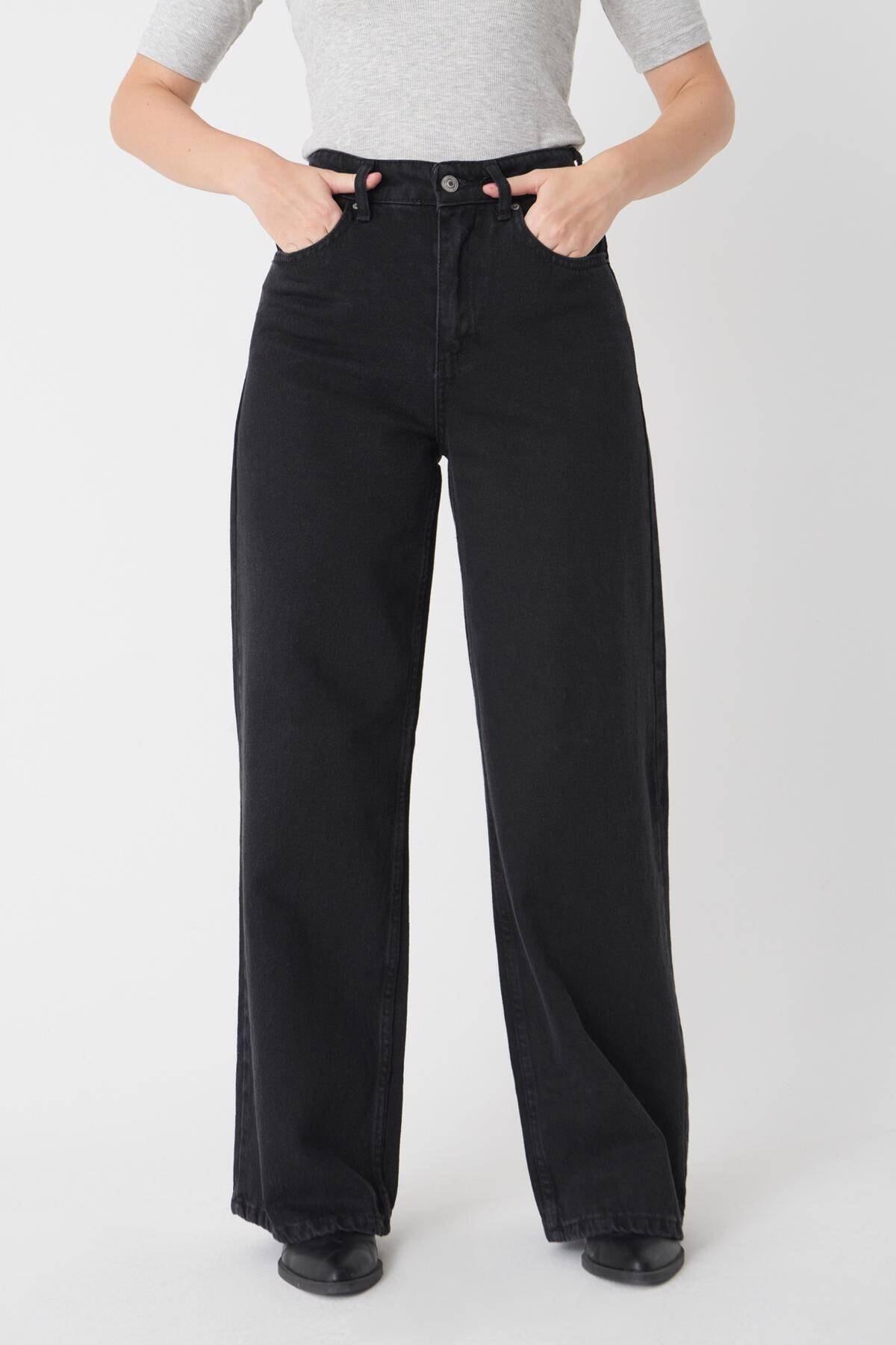 Addax Kadın Füme Cep Detaylı Bol Paça Pantolon Pn1072 - Pni ADX-0000023093 2