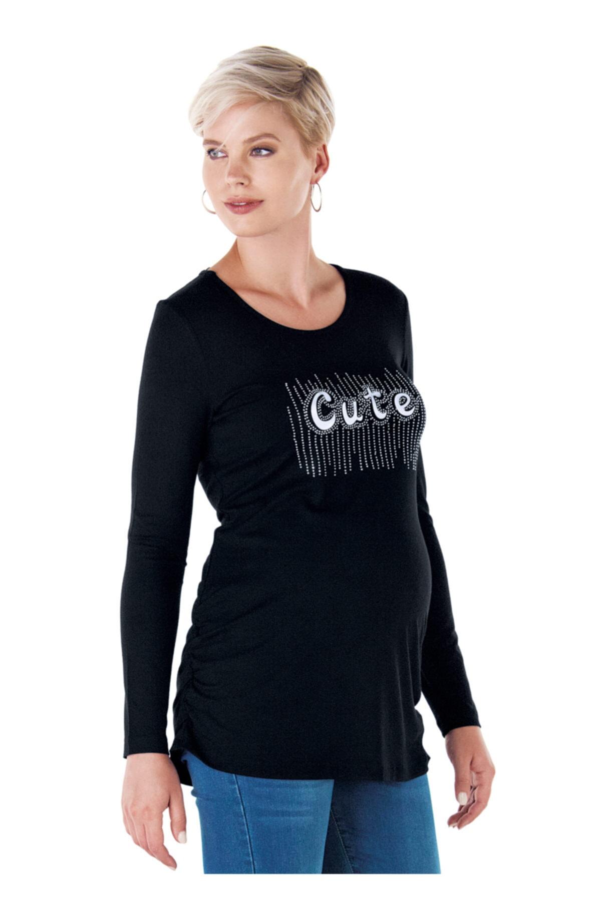 Ebru Maternity Kadın Siyah Baskılı Hamile T-Shirt 1