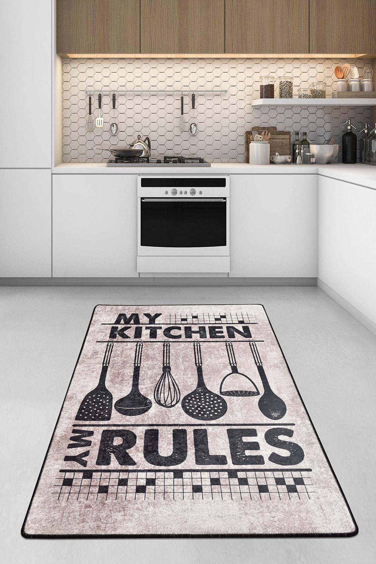 Chilai Home RULES DJT Mutfak Halısı, Kaymaz Taban , Yıkanabilir. 1