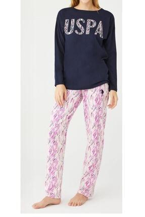U.S. Polo Assn. Uspa Kadın Lacivert Yuvarlak Yaka Pijama Takım