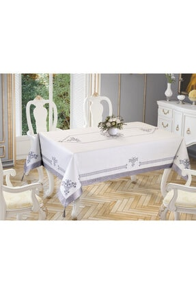 Çeyiz Diyarı Lale Baskılı Dikdörtgen Masa Örtüsü Silver