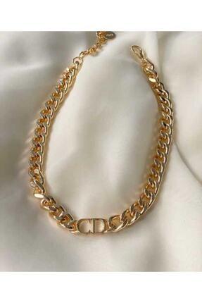 Elmas Dizayn Kadın Altın Christian Dior Model Ithal 1. Kalite Kararmaz Kalın Zincir Cd Kolye