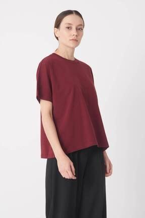 Addax Kadın Bordo Oversize Basic T-Shirt P0730 - J6 - J7 Adx-0000020569