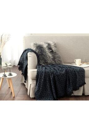 English Home Dark Mono Akrilik Koltuk Şalı 130x170 Cm Siyah – Lacivert