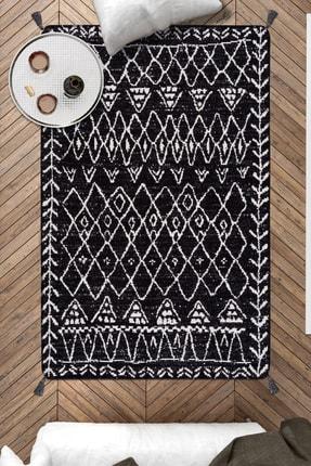 Caretta Home Siyah Beyaz Mistik Desenli Çift Taraflı Dokuma Kilim