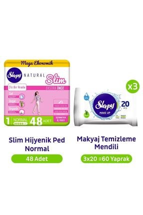 Sleepy Natural Slim Normal Hijyenik Ped 48'li Makyaj Temizleme Mendili 3x20 60yaprak