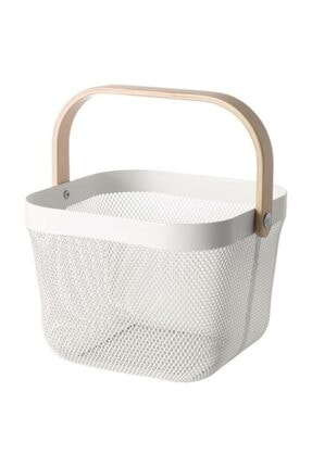 IKEA Çok Amaçlı Sepet Meridyendukkan Meyve Veya Düzenleme Sepet Beyaz Renk 25x26x18 Cm Çelik