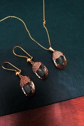 Dr. Stone Topaz Rengi Hindistan Kristali Gümüş Set Xdrsott16