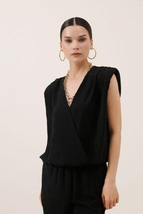 Gusto Anvelop Kesim Kolsuz Bluz - Siyah