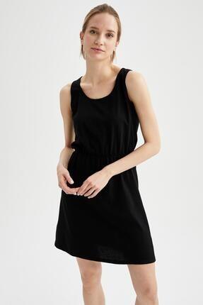 DeFacto Relax Fit Beli Büzgülü Askılı Basic Elbise
