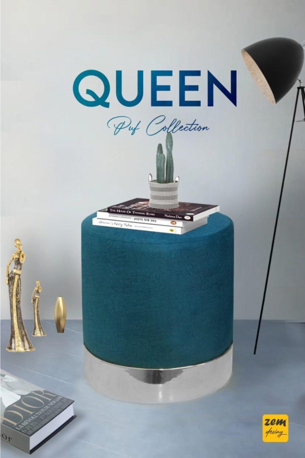 Zem Queen Turkuaz - Silver Puf 1