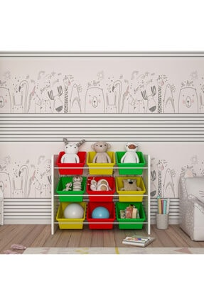 MORDEKA Renkli 9 Sepetli Montessori Oyuncak Dolabı