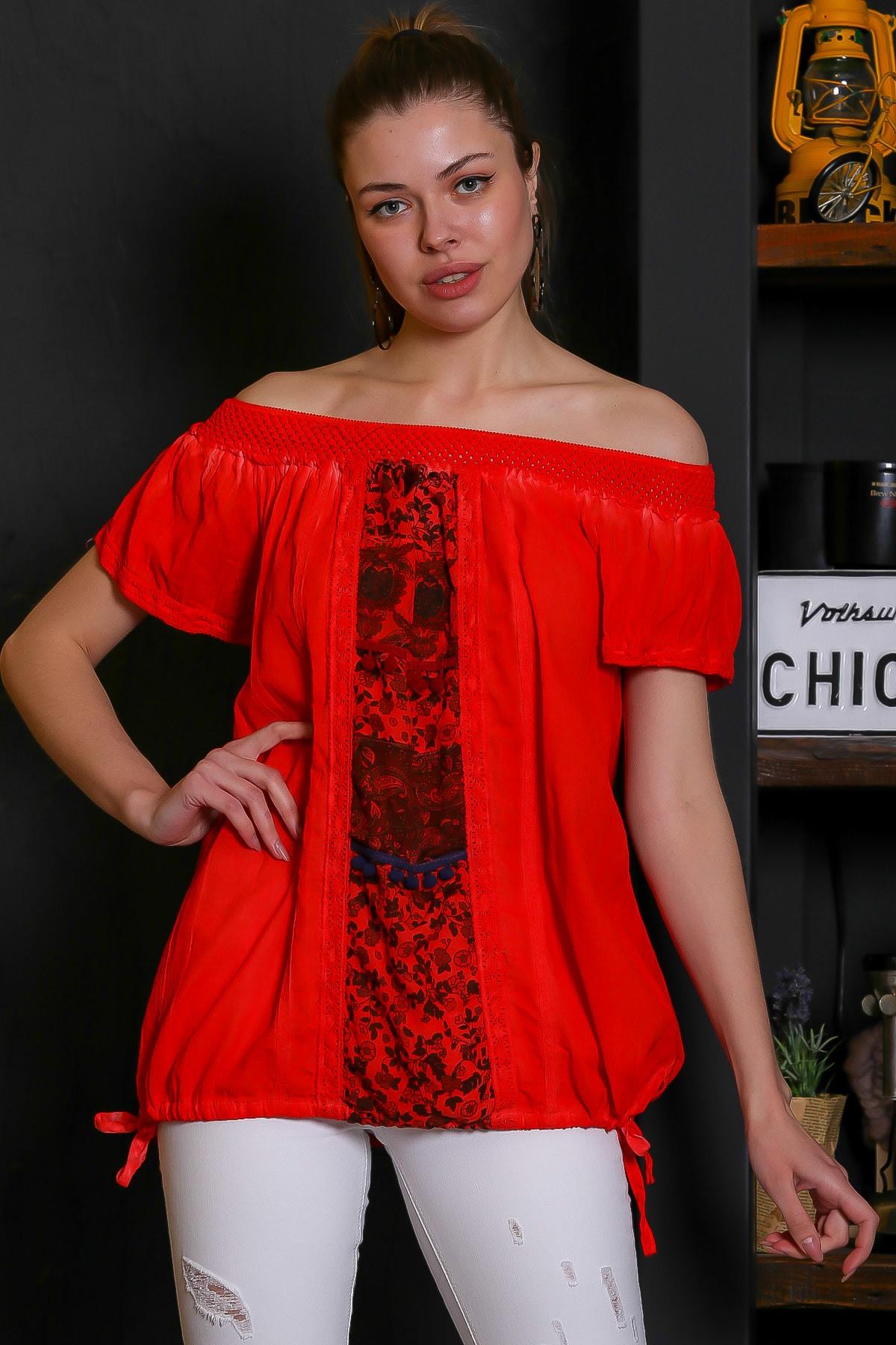 Chiccy Kadın Mercan Carmen Yaka, Blok Ve Yanları İp Bağlama Detaylı, Yıkamalı Bluz M10010200BL95529