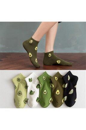 çorapmanya Kadın 5 Çift Yarım Konç Avokado Desenli Çorap