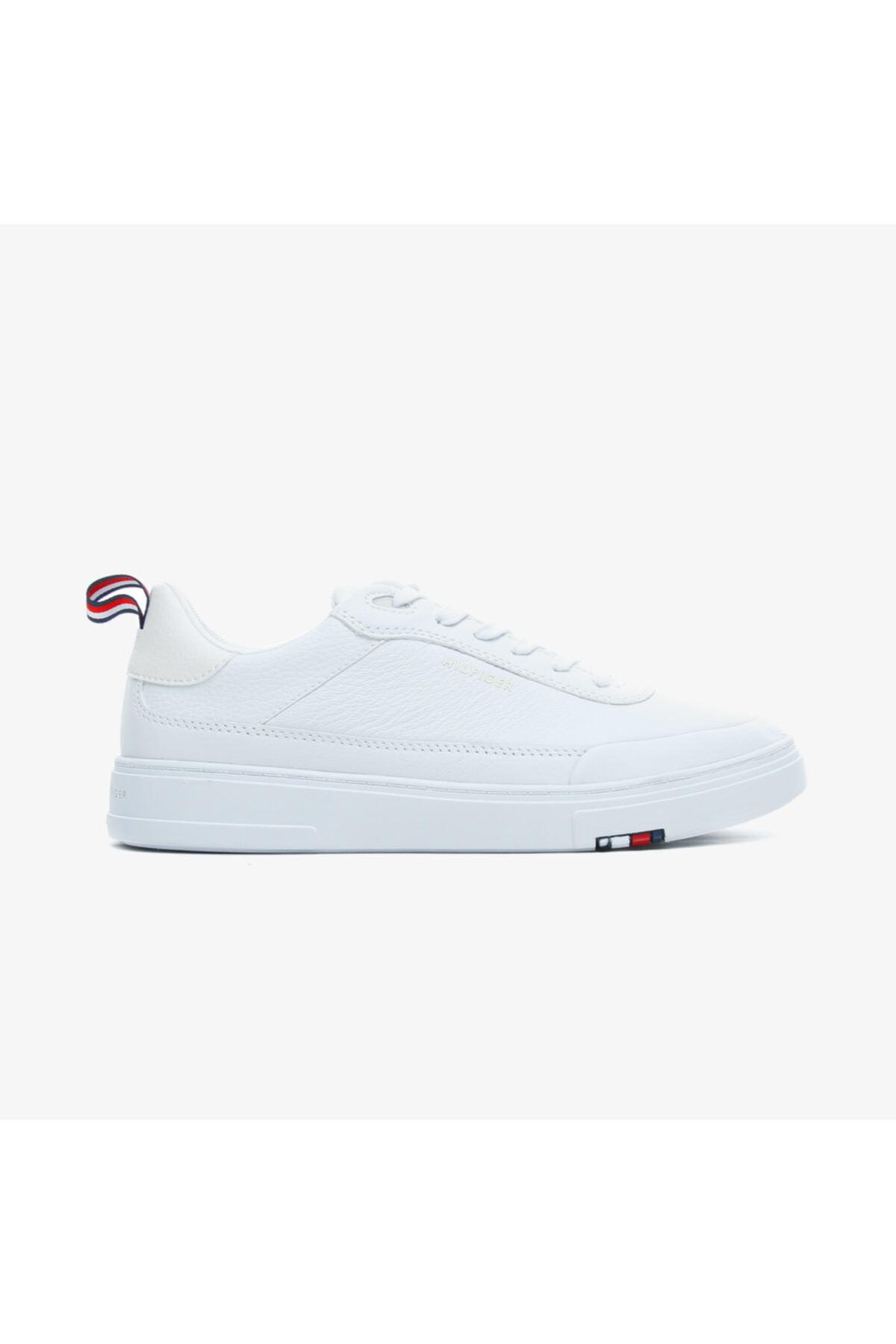 Tommy Hilfiger Erkek Beyaz Modern Cupsole Leaer Spor Ayakkabı 1