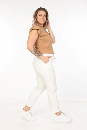 Womenice Kadin Büyük Beden Beyaz Spor Kesim Kumaş Pantolon