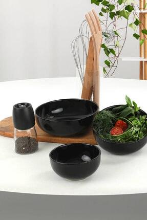 Keramika Ege Siyah Salata Kasesi 3 Adet