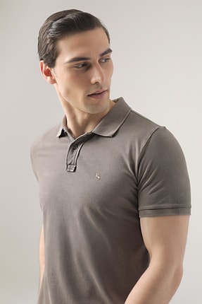 D'S Damat Erkek Vizon Regular Fit Pike Dokulu T-shirt