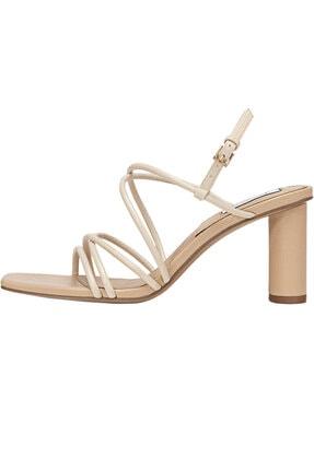 Stradivarius Kadın Bej Bantlı Topuklu Sandalet