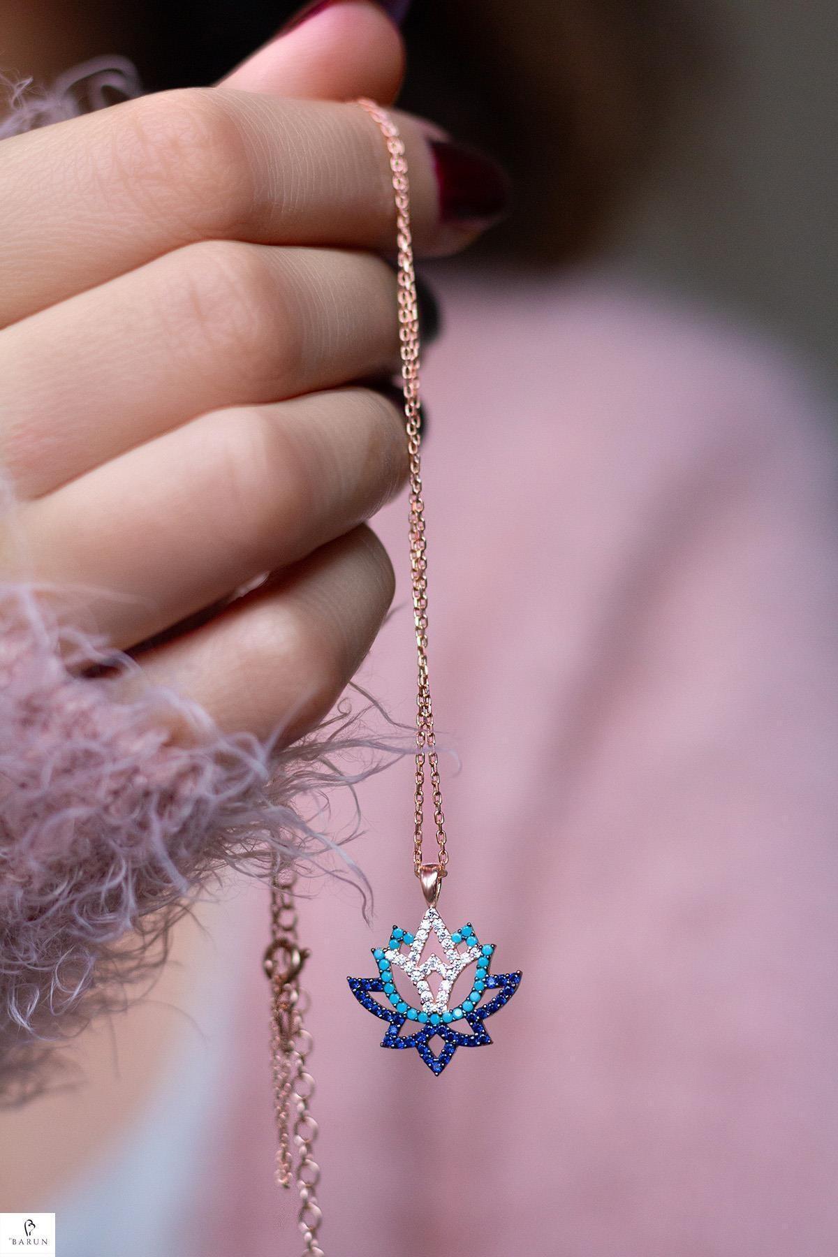BY BARUN SİLVER Lotus Yaşam Çiçeği Gümüş Kolye 1