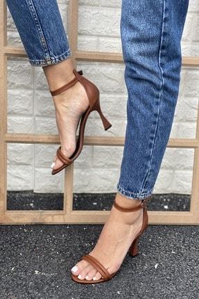 İnan Ayakkabı Kadın Taba Bilekten Tokalı Iki Bant Topuklu Ayakkabı