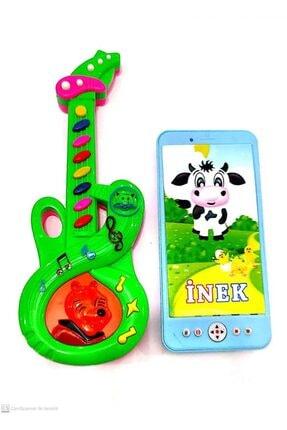 berattoys Müzikli Mini Gitar(25cm)&ışıklı Müzikli Telefon(15cm)