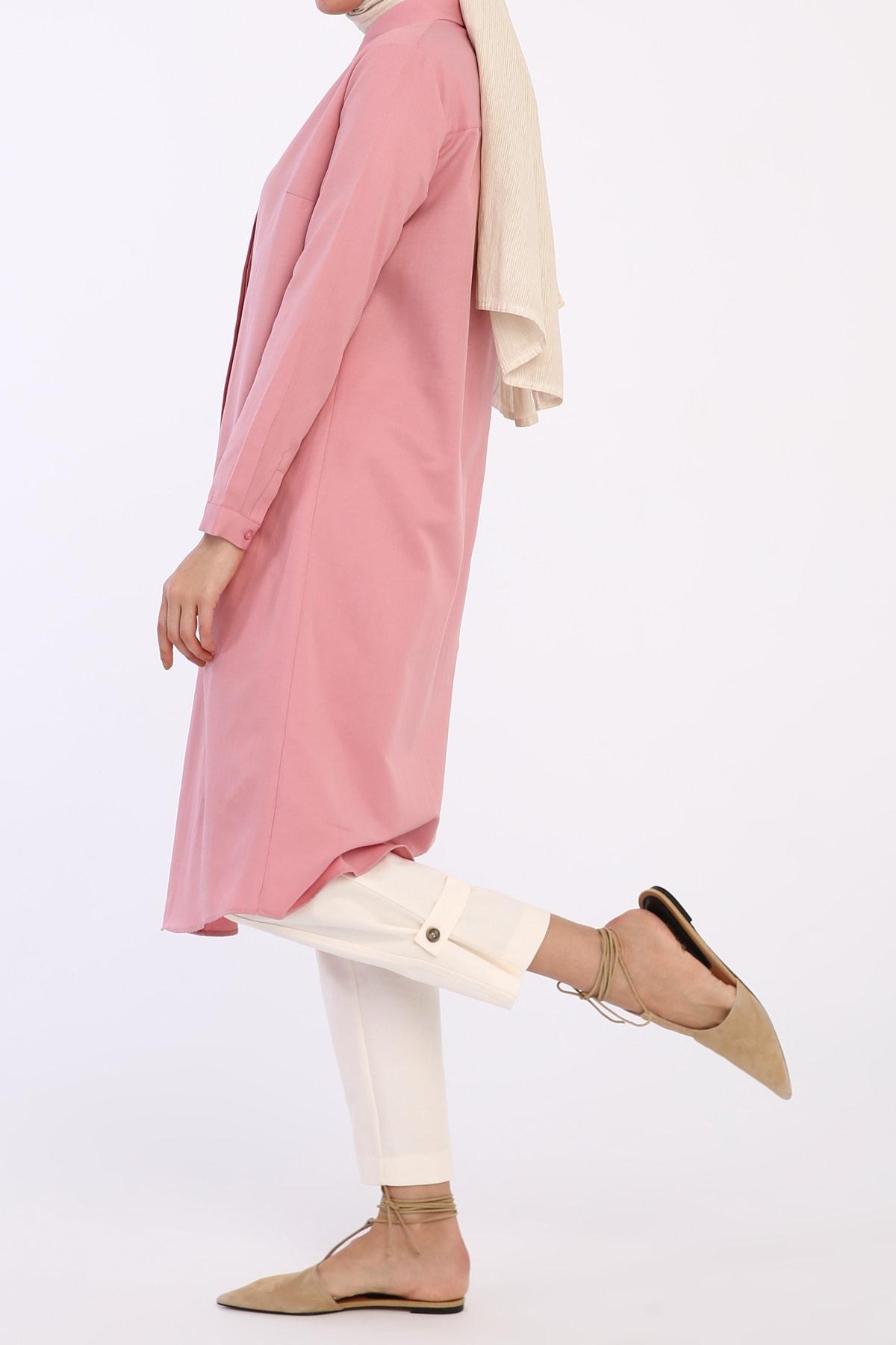 ALLDAY Kadın Pembe Gizli Patlı Gömlek Tunik 1