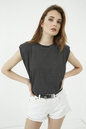 Vis a Vis Kadın Siyah Çizgi Desenli Vatkalı Tshirt