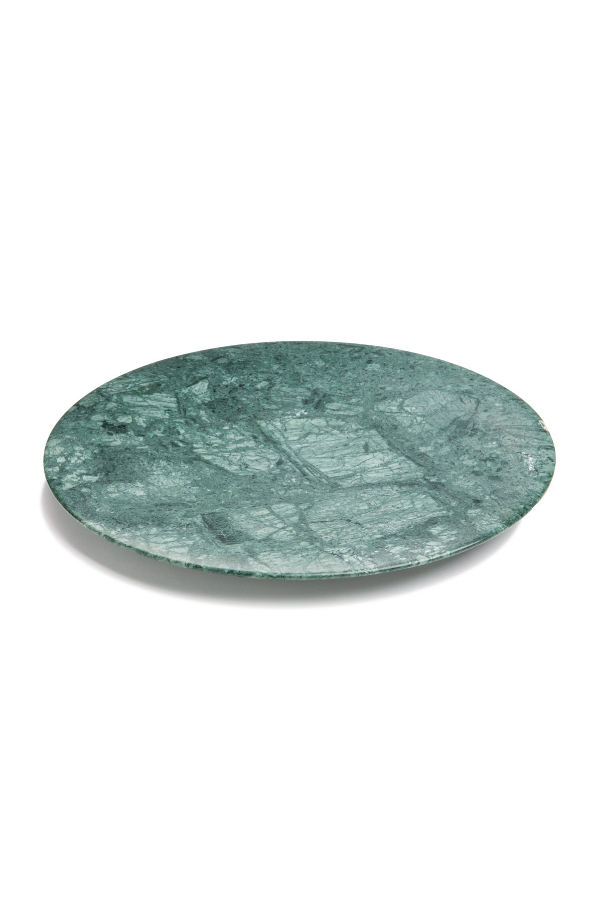 Fosil Mermer Yuvarlak Sunum Ve Servis Tepsisi, Kesim Tablası, Peynir Tabağı - Yeşil Mermer 1
