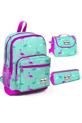 Coral High Kız Çocuk Açık Pembe Flamingolu Dört Bölmeli Ilkokul Sırt Çantası Beslenme Kalemlik Set 23111