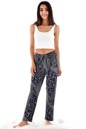 Pijamoni Kadın Lacivert Desenli Cepli Viskon Şalvar Pantolon 9300-1