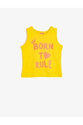 Koton Kız Bebek Sarı Baskılı %100 Pamuk Atlet
