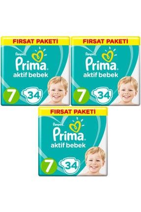 Prima Bebek Bezi 7 Beden 15+ kg 34 Lü 3 Paket 102 Adet