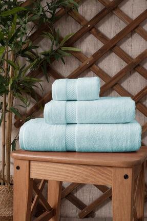 İpekçe Home Ipekçe Pamuklu Kadife 3'lü Banyo Havlu Seti Açık Mavi