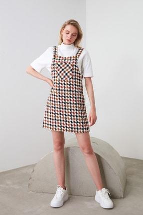 TRENDYOLMİLLA Ekru Kaz Ayağı Desenli Jile Elbise TWOAW20EL0208