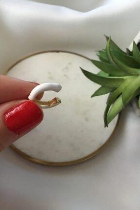 My Joyas Design Yarım Beyaz Mineli Kıkırdak Küpe