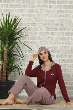 Pijamaevi Çizgili Bordo Kadın Önden Düğmeli Bambu Pijama Takımı