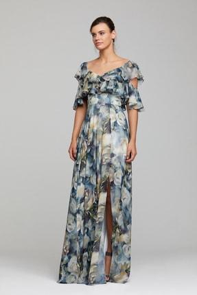 RENGIN Üstü Kat Kat Fırfırlı Gül Desenli Elbise