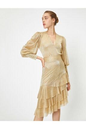 Koton Kadın Asimetrik Uzun Kollu Parlak Elbise Abiye