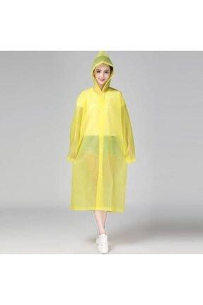 DEEMBRO Kadın Sarı Kapüşonlu Ve Çıtçıtlı Sarı Renk Kaliteli Eva Yağmurluk