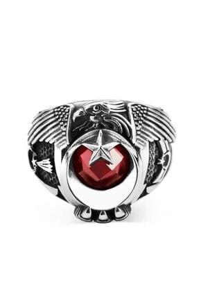 Anı Yüzük Jandarma Şualı Tek Kartal Başlı Uzman Çavuş Yüzüğü Kırmızı Taşlı